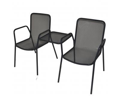 Kovové venkovní dvojkřeslo, stolek - materiál tahokov